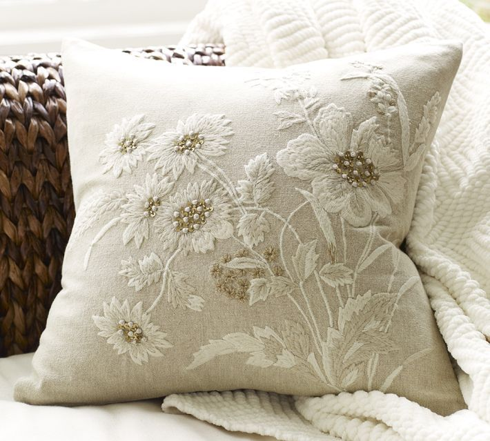 Best design embroidered flower pillow cover my style