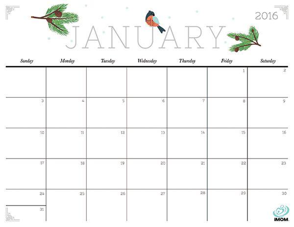 free january 2018 calendar template