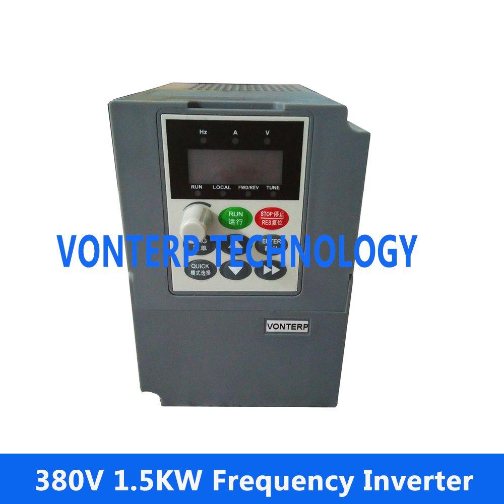 VONTERP 1.5KW 50hz 60hz Variable Frequency Drive VFD inverter 380V 3 ...