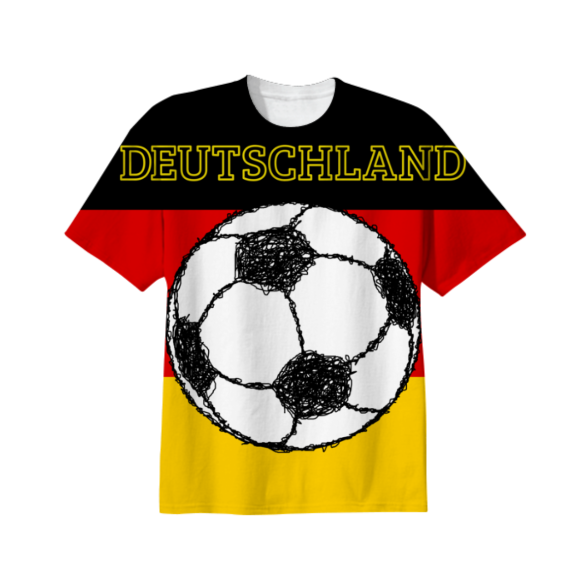 Deutschland flag | Football from Print All Over Me by piedaydesigns.  The flag of Germany, tricolour, displaying the national colours of Germany: black, red, and gold. Im the middle there is a sketch / scribble style picture of a black and white, soccer ball / football. The text reads Deutschland.