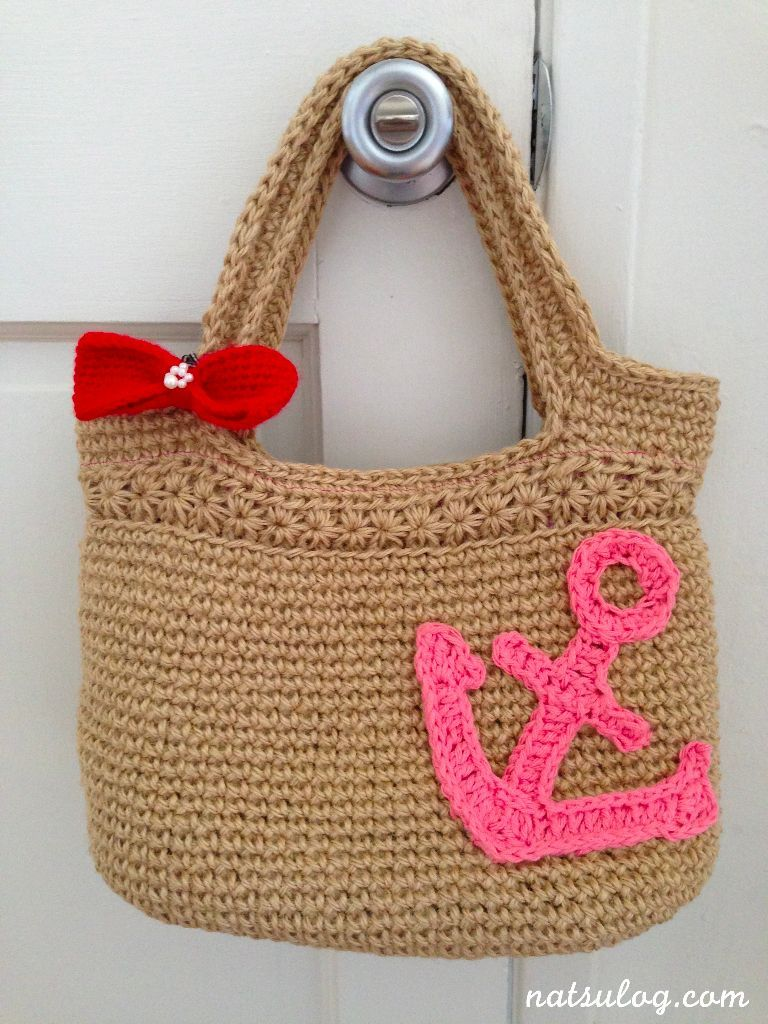 Good on a summer bag - crochet anchor applique - free pattern ...