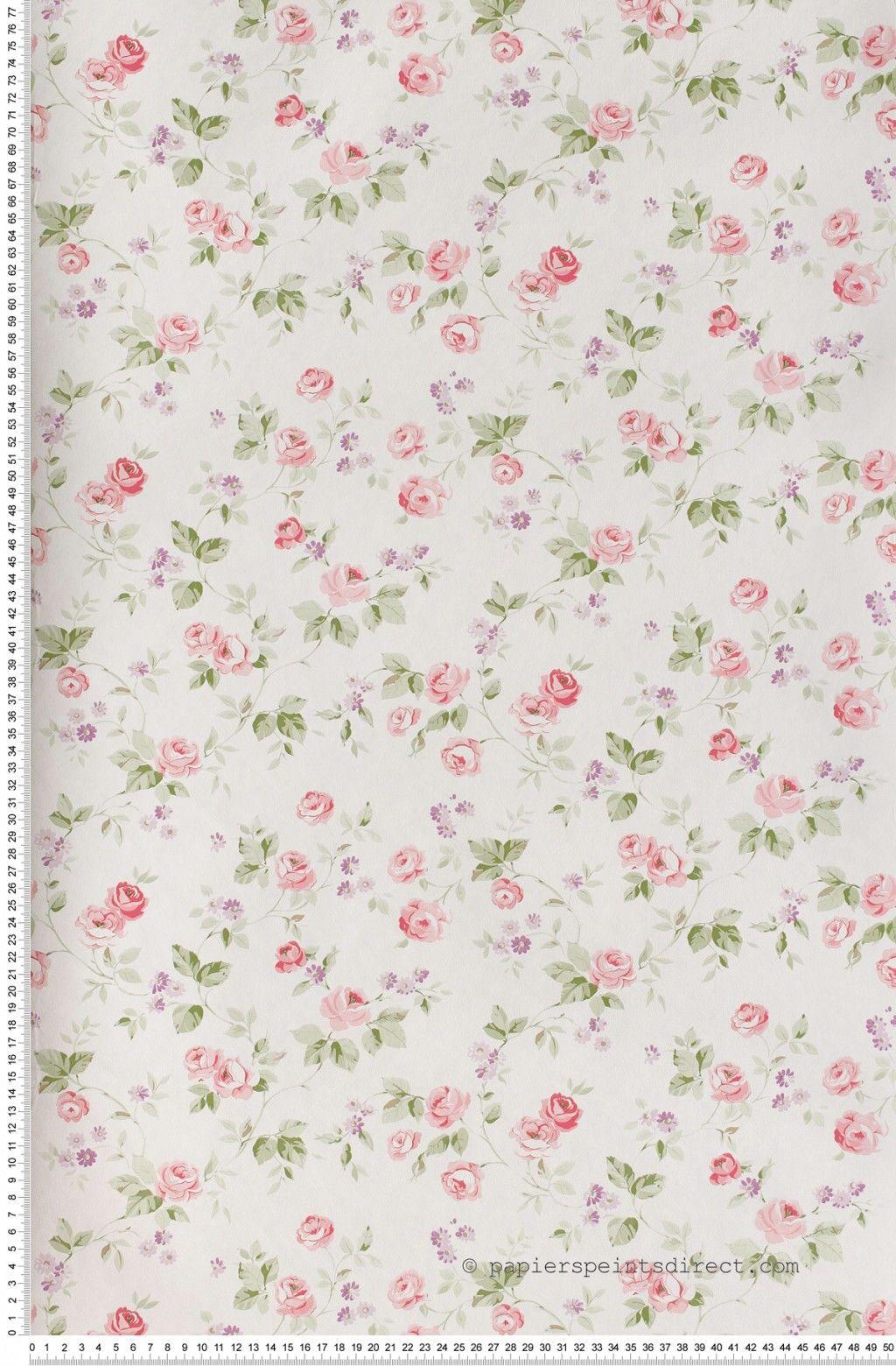 Délicieux Papier Peint Petites Fleurs #7: Liberty Rose Et Violet - Papier Peint Lutèce