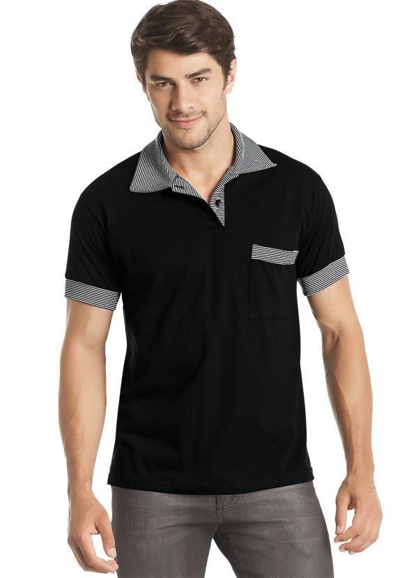 fdd284d5a4071 Conheça a Camisa Polo Misael - Manga Curta Preta com detalhes no bolso