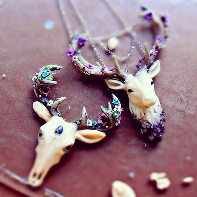 Polymer clay deer head pendant necklaces. So pretty ...