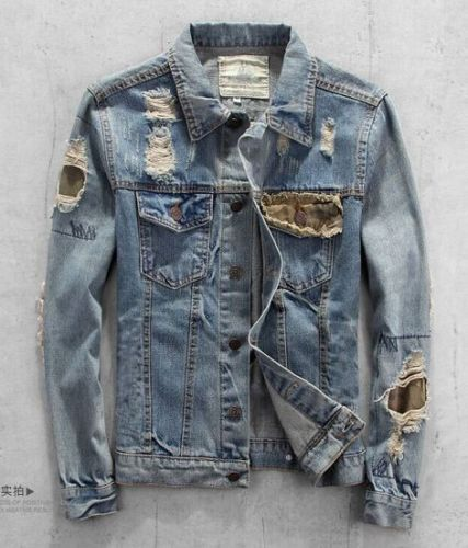 91756a051 New Fashion Ripped Holey Patch Punk Washed Denim Mens Jeans Jacket ...