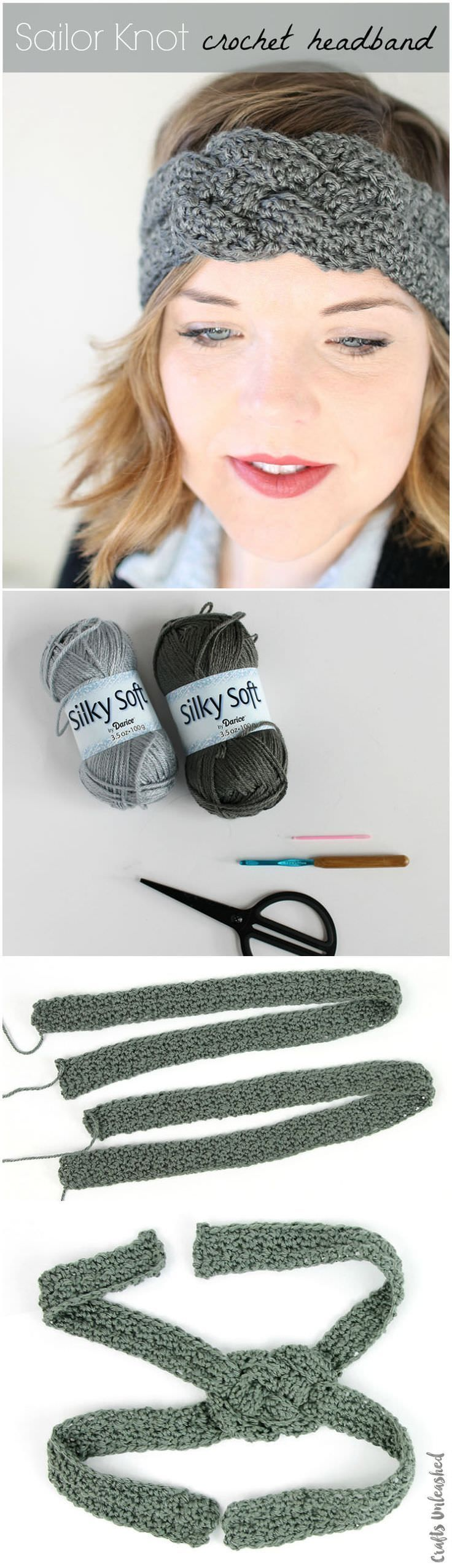 Sailor Knot Crochet Headband Pattern