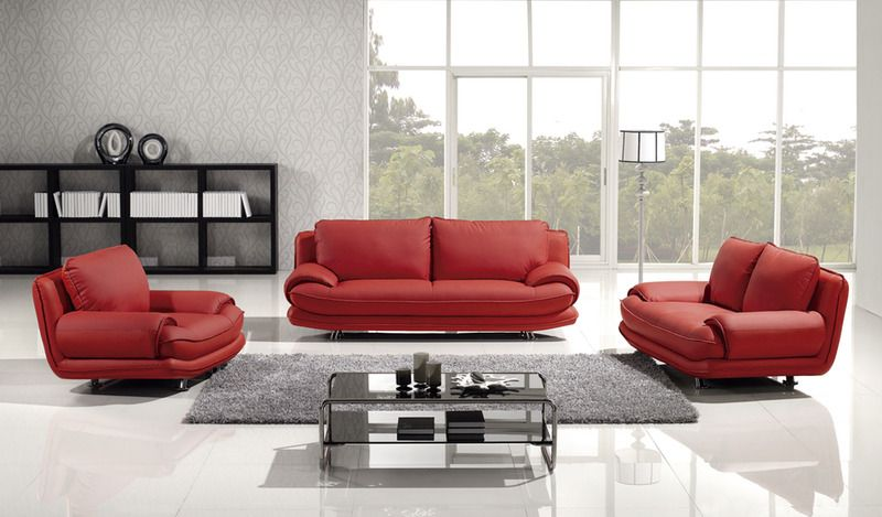 Modern Red Leather Sofa Couch Loveseat Chair Tufted Living Room Set