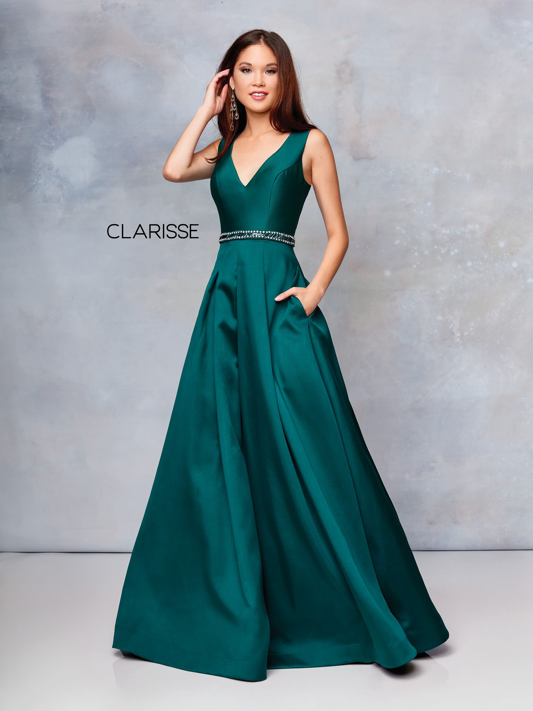 d834037acf85 3742 - Forest green mikado ball gown with a beaded belt and pockets ...