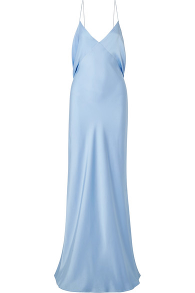 The Row Gran Open Back Draped Silk Satin Gown With Images Blue Silk Dress Silk Satin Dress Satin Gown