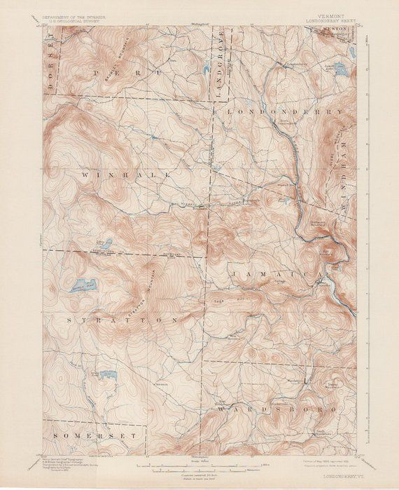 Topographic Map Vermont.Londonderry Vt 1899 1930 Original Usgs Topographic Map 80 Years