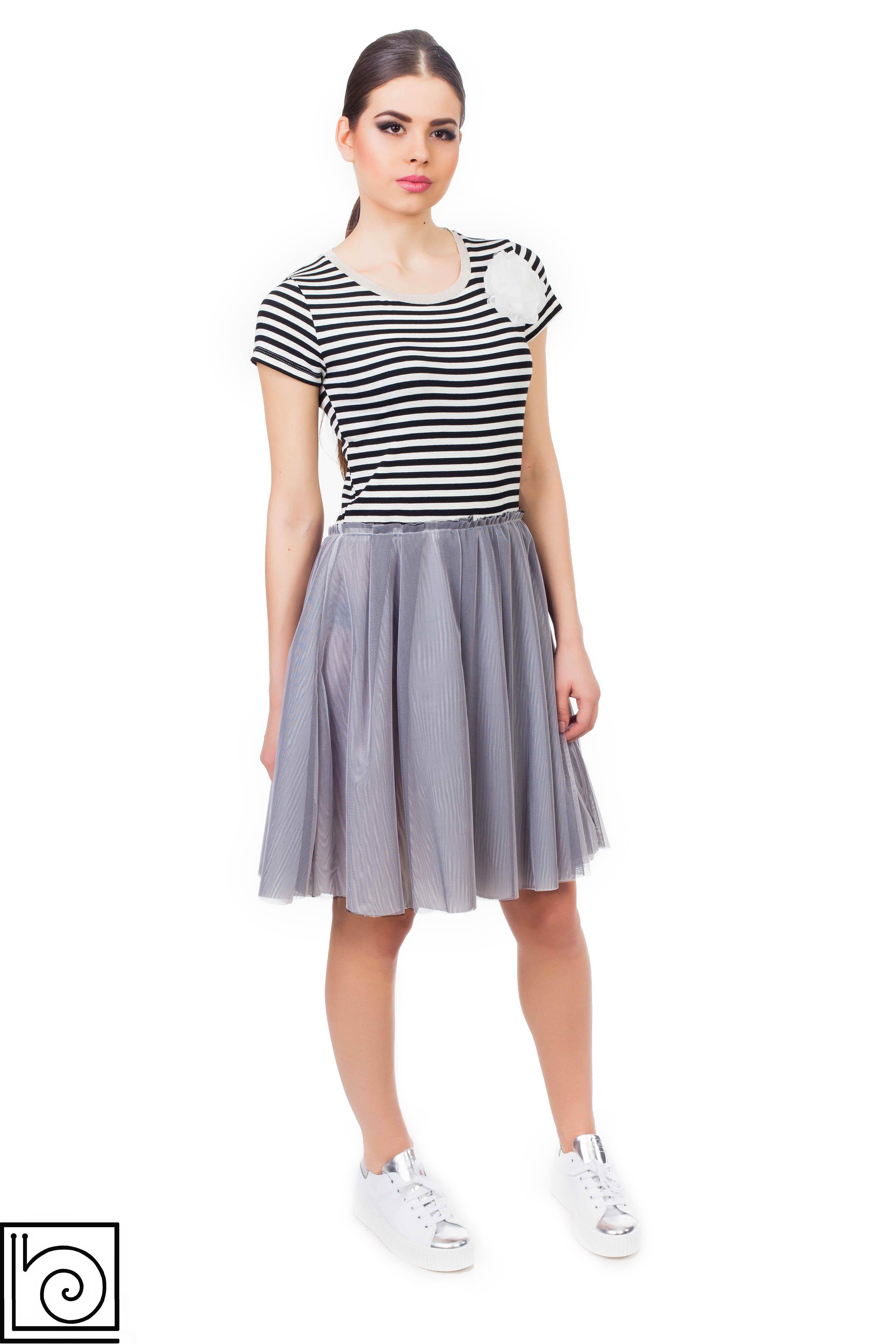 eaff79749cff86f Платье с юбкой из тюли. Топ трикотажный в черно-белую полоску, короткий  рукав
