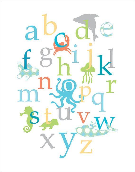 Baby Nursery Wall Decor Ocean Creatures Alphabet In By Fancyprints 24 00 Beach Theme