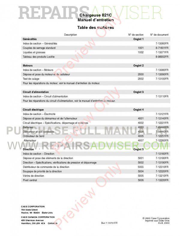 Case 821c Wheel Loader Service Manual Pdf Download Manual Pdf Service