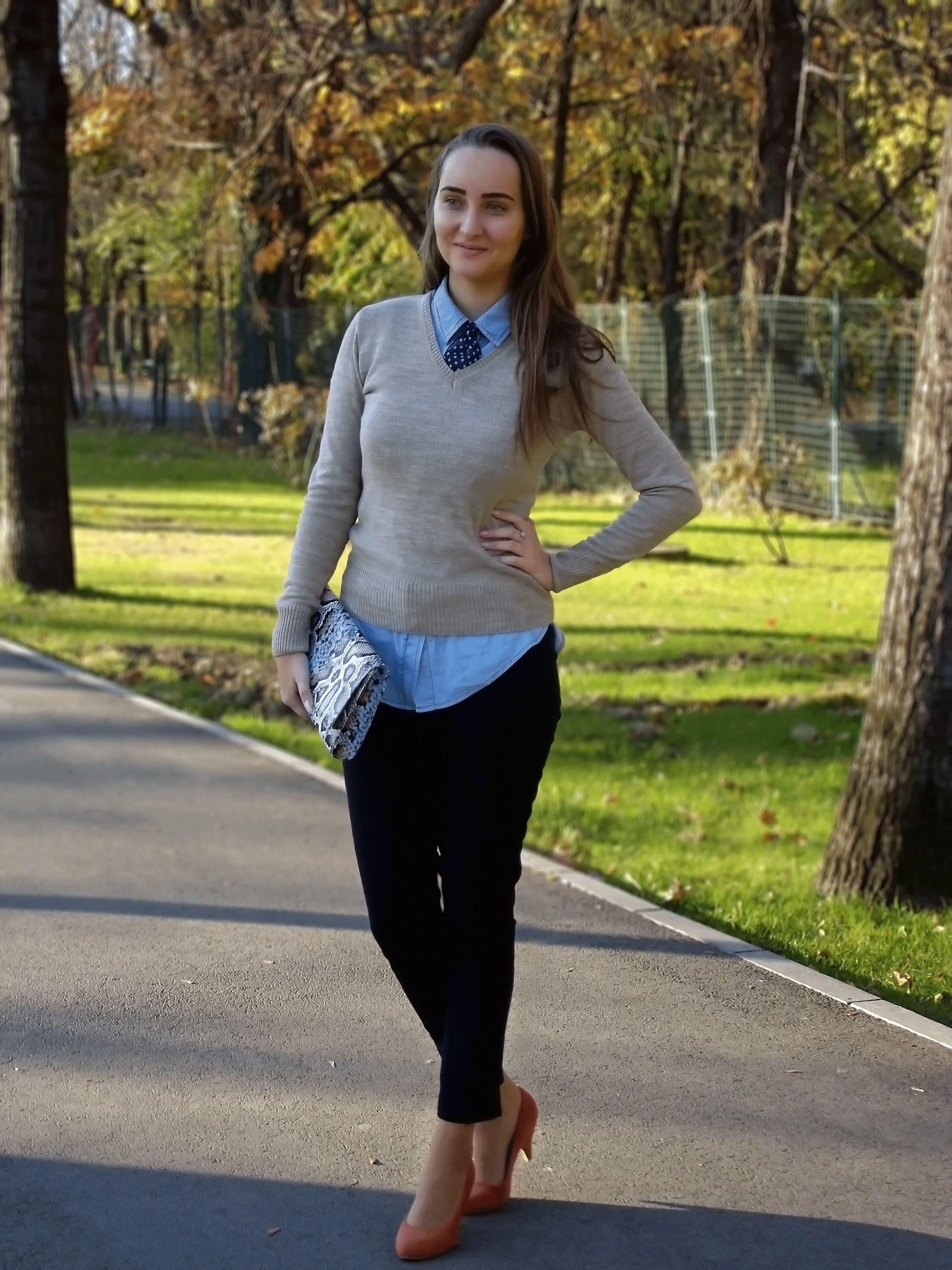 Women 39 S Beige V Neck Sweater Light Blue Denim Shirt Navy
