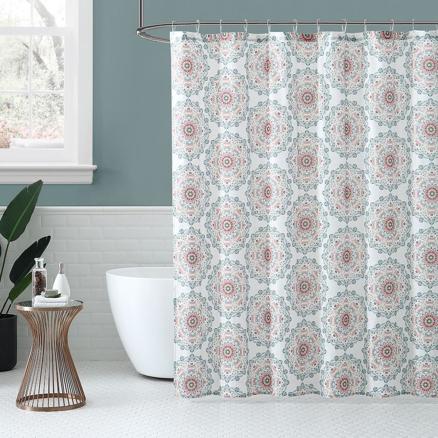 Peach Oak Medallion Shower Curtain Orange With Images Coral