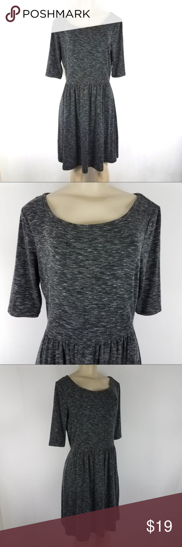 Paraphrase Gray 1 2 Sleeve Casual Flow Dres Small Dresse Flowing Clothe Design Grey Dress