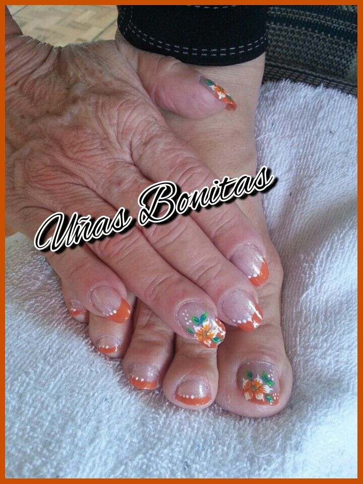 Traditional manicure in orange