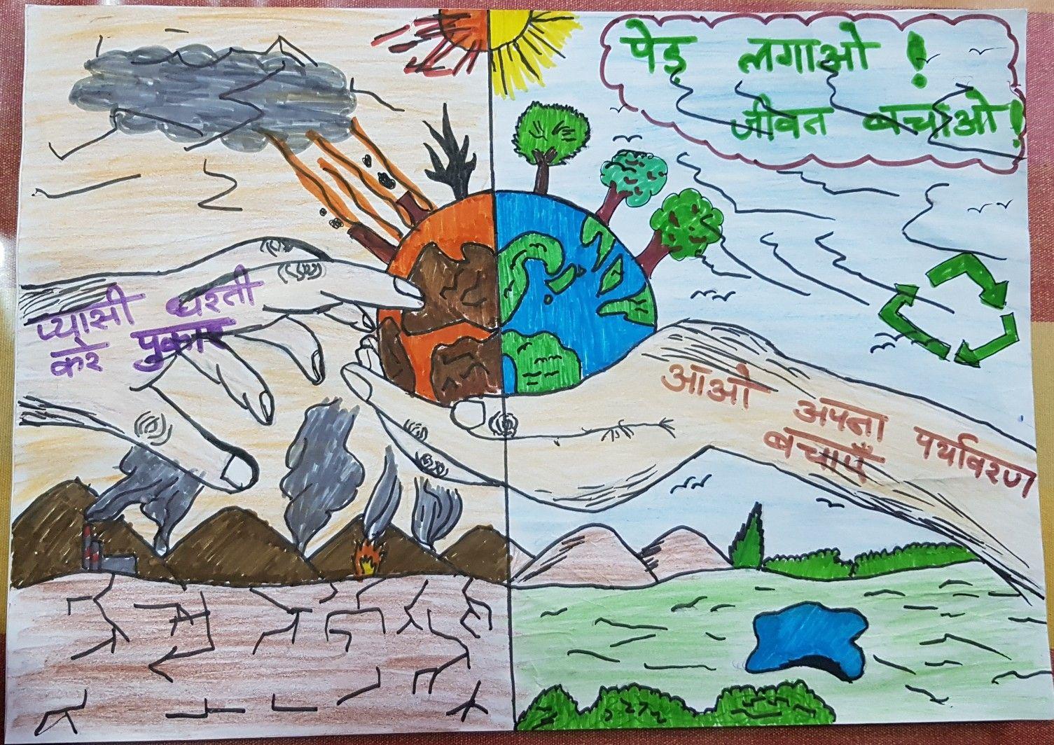 Paryavaran poster making in Hindi... Poster making