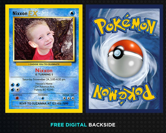 This Birthday Party Invitation Is A Digital Printable File High Resolution Photo Jpeg Or Physical Print Pokemon Party Supplies Pokemon Party Pokemon Birthday