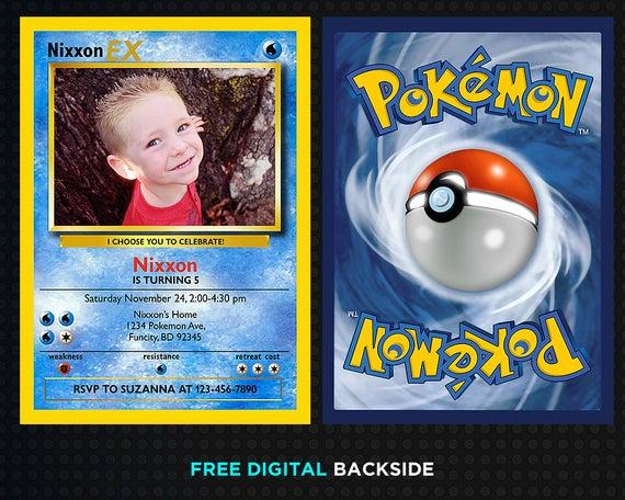 Pokemon Card Invitation Template Birthday Invitation Digital