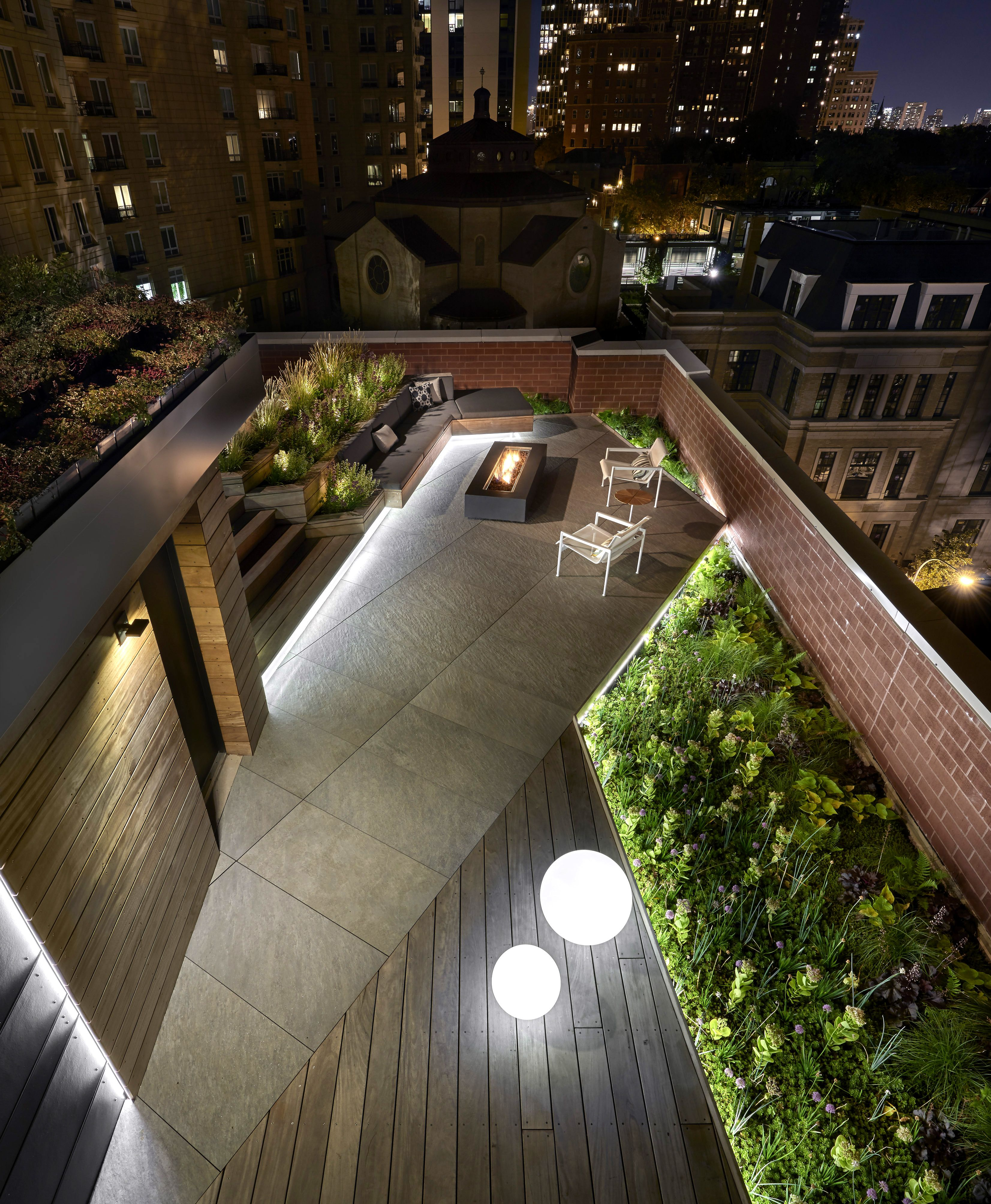 Landscape Lighting On Roof : Dspace rooftop yard view from above green roof