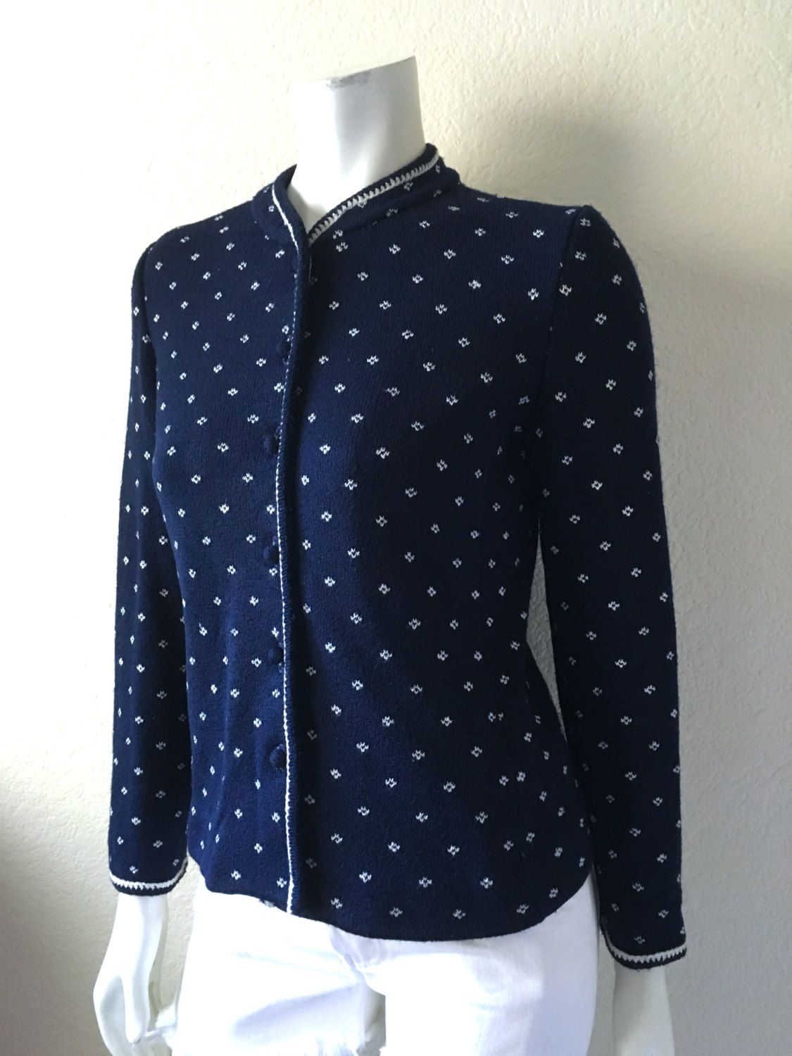 Vintage Women's 80's Navy Blue Cardigan Sweater, Button Up (S) by Freshandswanky on Etsy