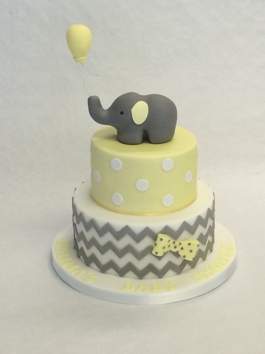 Baby Elephant Yellow And Grey Baby Shower Cake Cakes And Cupcakes