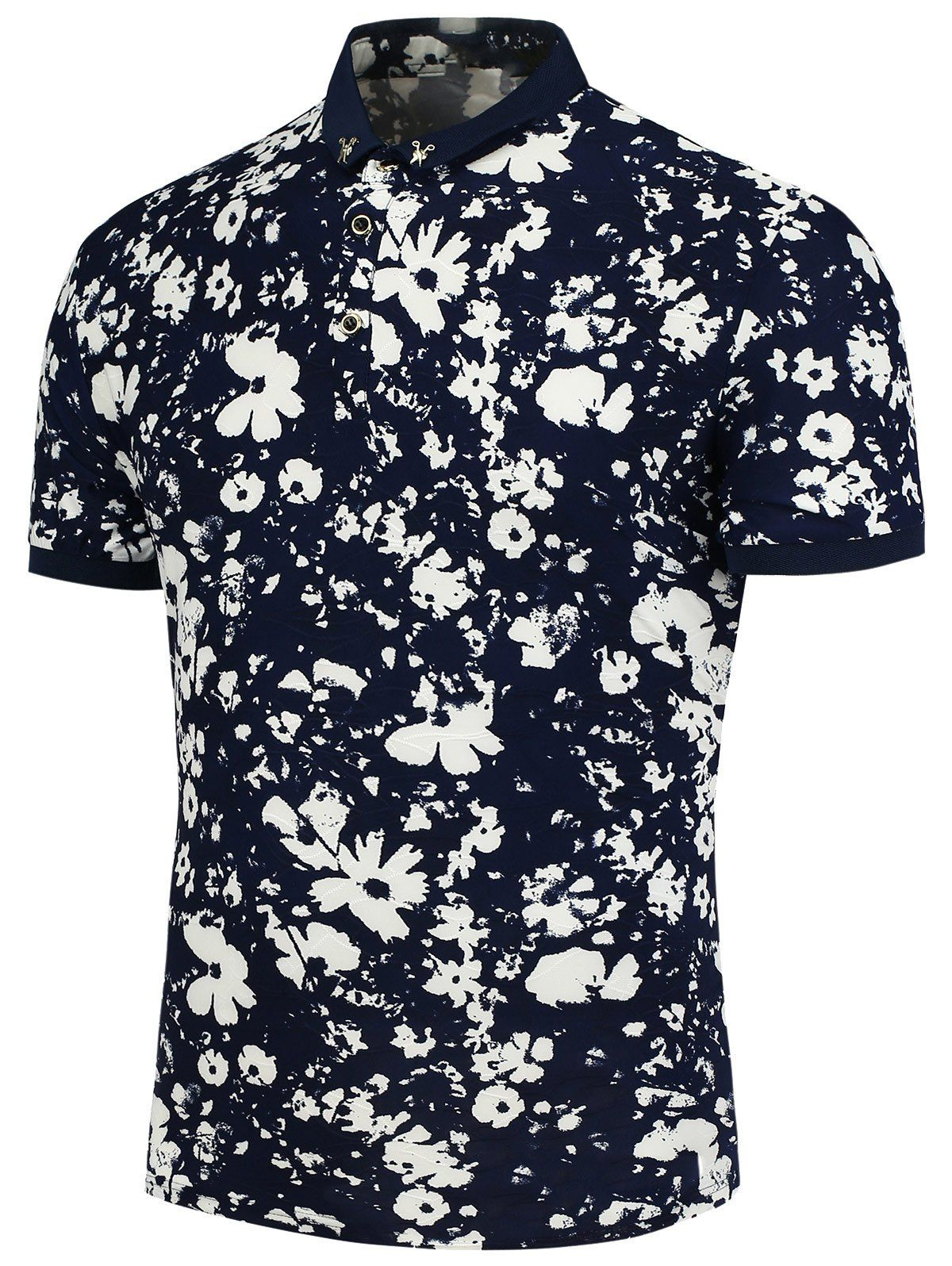 Flowers Printed Polo T-Shirt In Blue 4d18ba1f18ed8