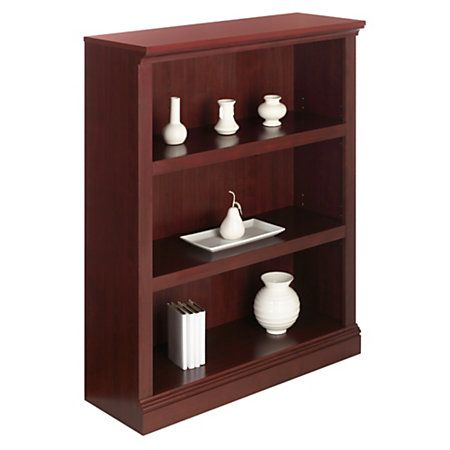 Bookcase 3 Shelf Clic Cherry Embly Required With Adjule Shelves Provides Customizable Storage At Office Depot