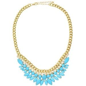 Pastel Blue Waterfall Gem Necklace