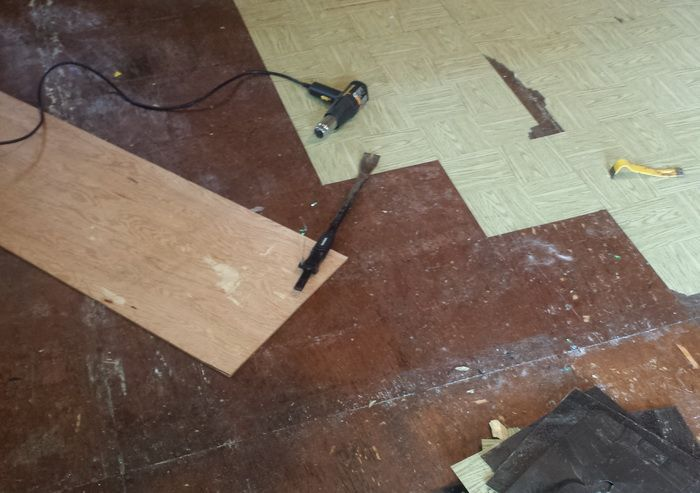 Removing Old Cheap Peel And Stick Floor Tiles Main Bathroom