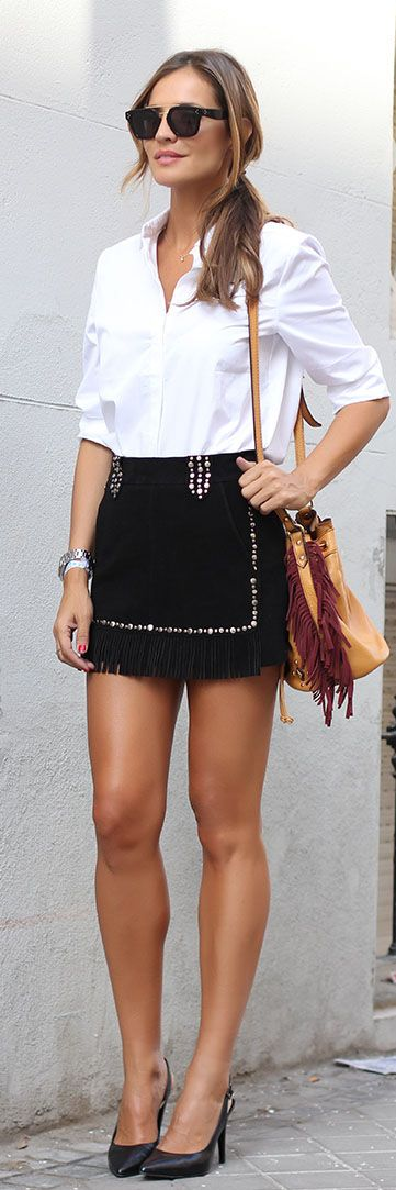 Black Suede Skirt Fall Inspo by LadyAddict