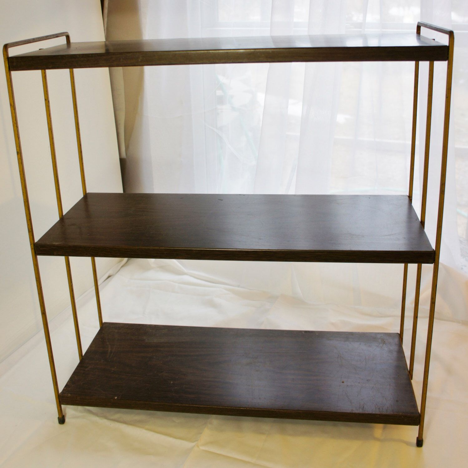 vintage all metal 3 tier bookshelf faux wood and gold mid century