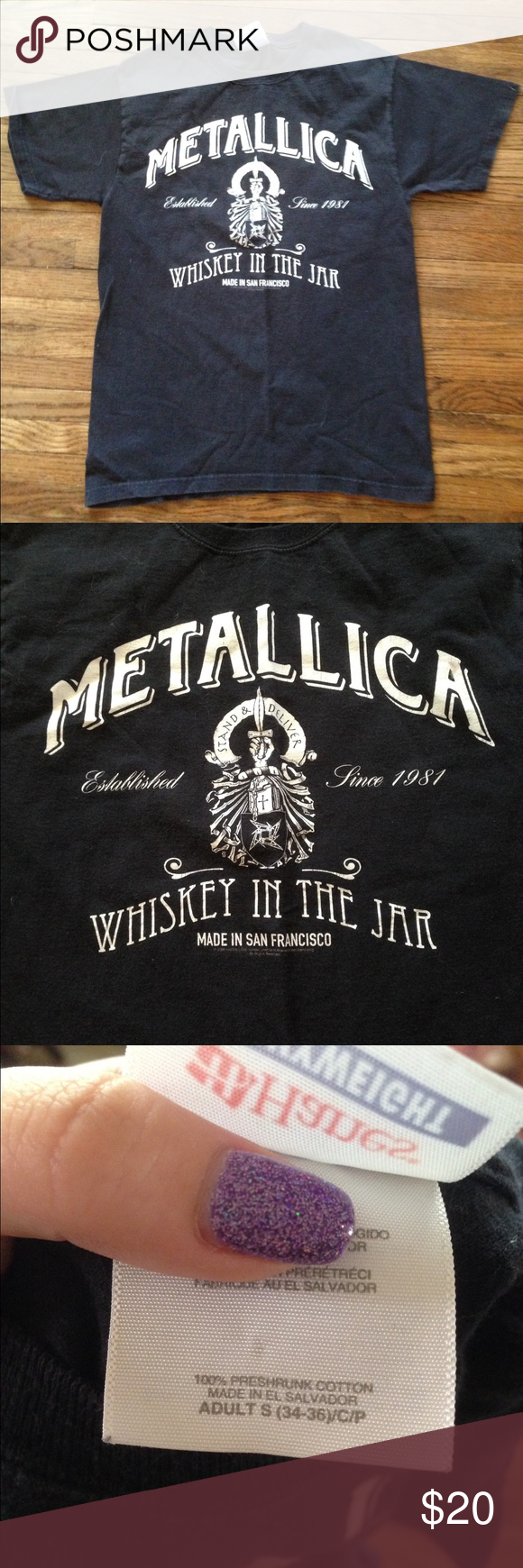 Metallica whiskey in the jar tshirt! This is a great shirt for any Metallica fan!! It has no holes, but there is a white spot on the inside of the shirt. No other spots or stains in the outside. It's only been worn once or twice because it was to small. It has also been washed. It comes from a smoke free environment. I ship Monday-Friday. I don't hold or trade. Please don't negotiate the price in the comments. I only sell through poshmark. Hot Topic Tops Tees - Short Sleeve