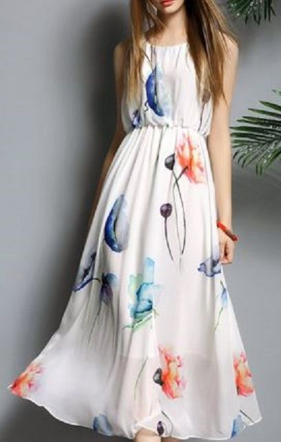 Pretty Spring Floral Dress Fashion! Bohemian Scoop Neck Sleeveless Floral Print Slimming Dress For Women #Spring #Floral #Dress #Fashion