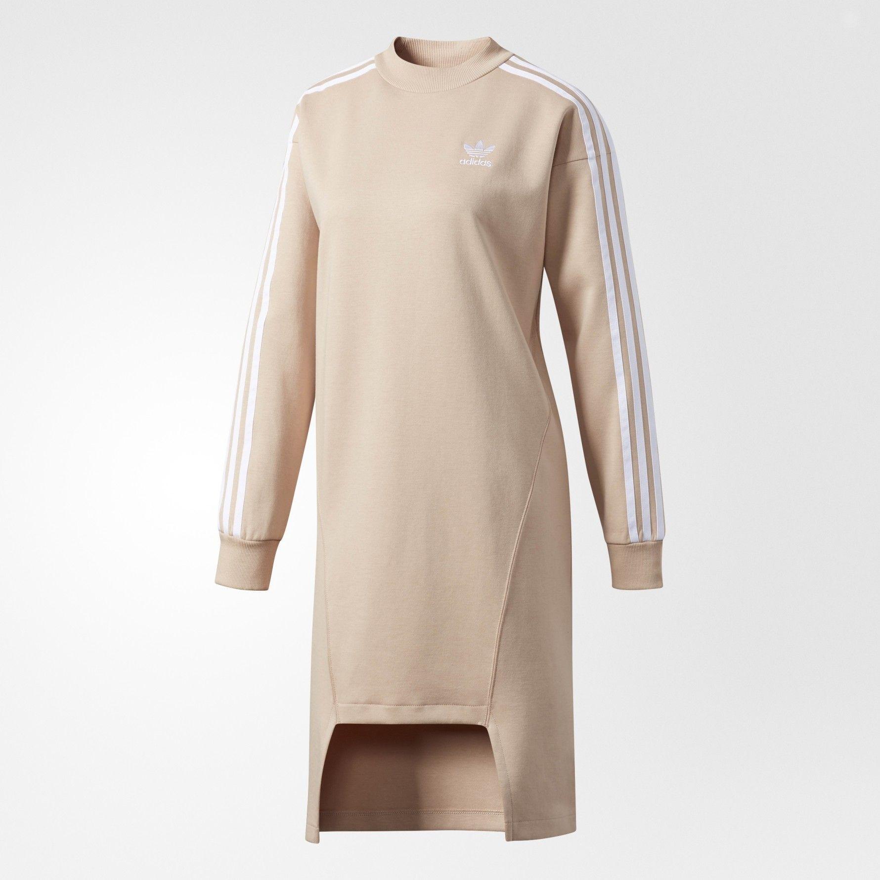 adidas Originals Three Stripe Sweat Dress With Drop Hem  e95fbc9c5fd