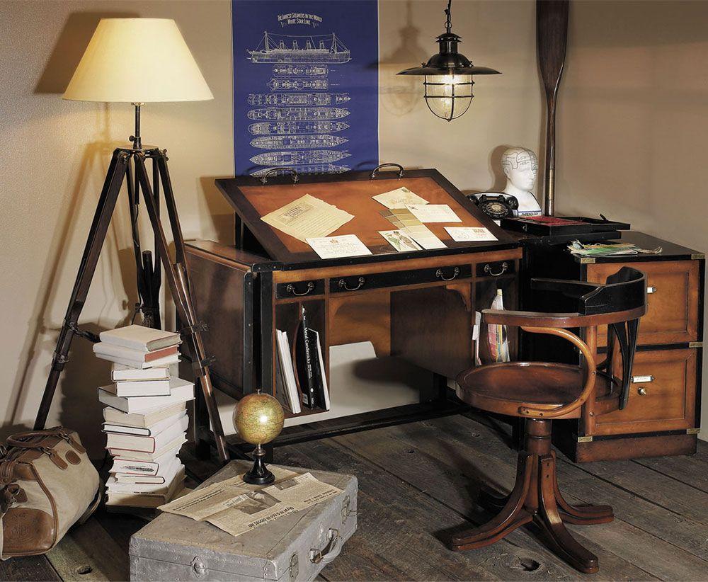 architect home office. Home Office Decor Featuring Pursers Desk Chair, Architect Bureau Desk, Tripod Floor Lamp, R
