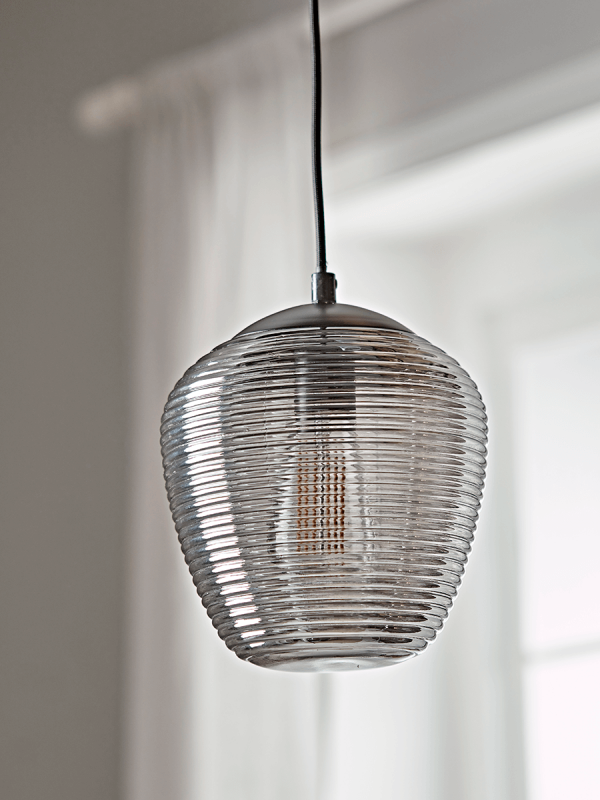 New Ribbed Smoked Glass Pendant In 2020 Modern Ceiling Light Ceiling Lights Lamp Shades Uk