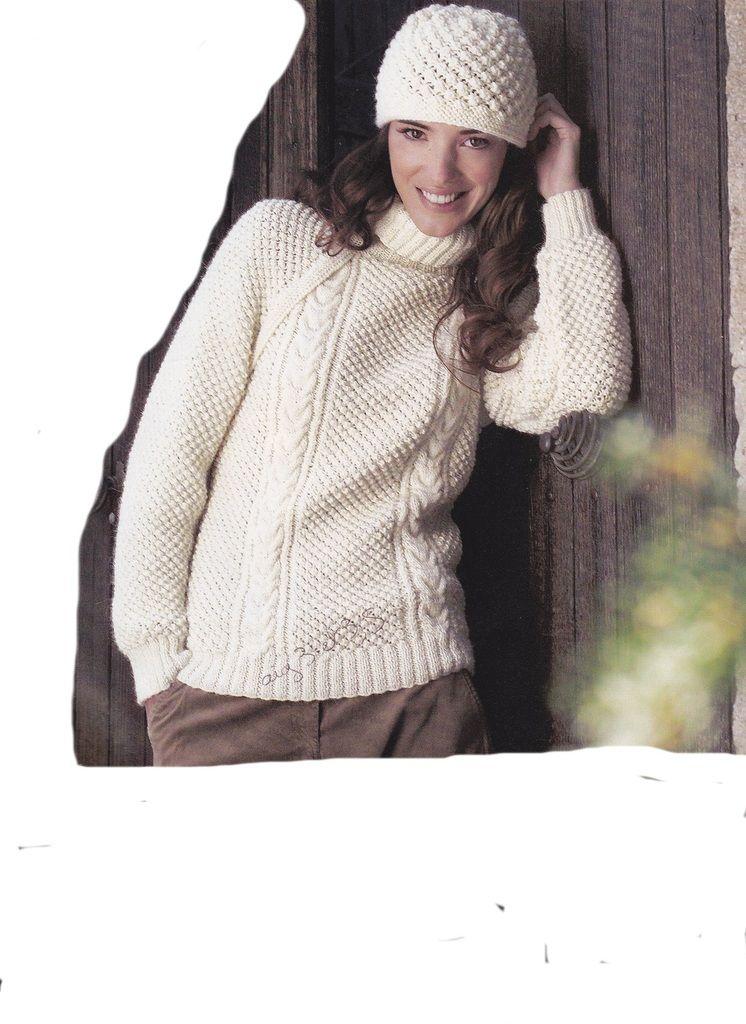Mod le gratuit ensemble pull et bonnet fantaisie femme au tricot to do tricot pinterest - Modele tricot bonnet femme facile ...