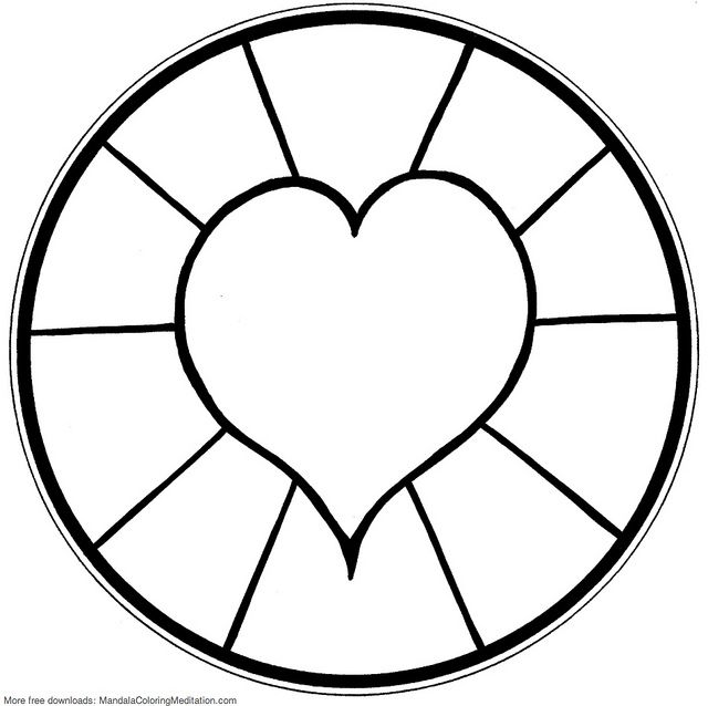 Printable Children Coloring Page Heart Mandala 4 Simple Mandala