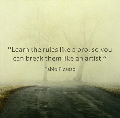learn the rules like a pro, so you can break them like an artist -pablo picasso
