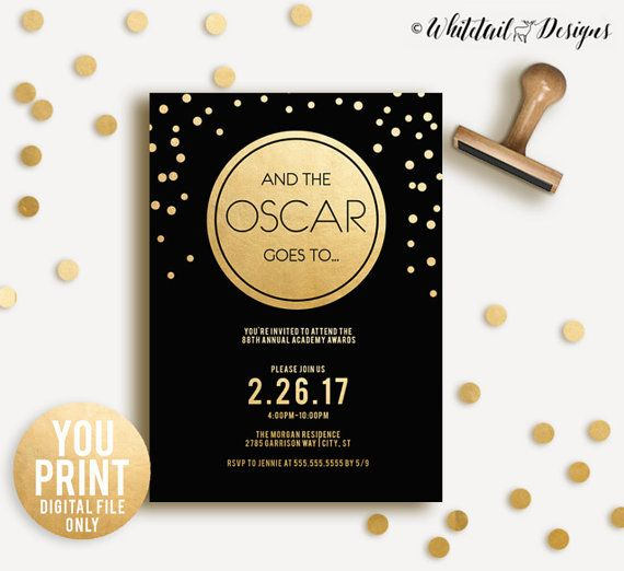 Oscar Party Invitation Oscars Invitation Academy Awards Black