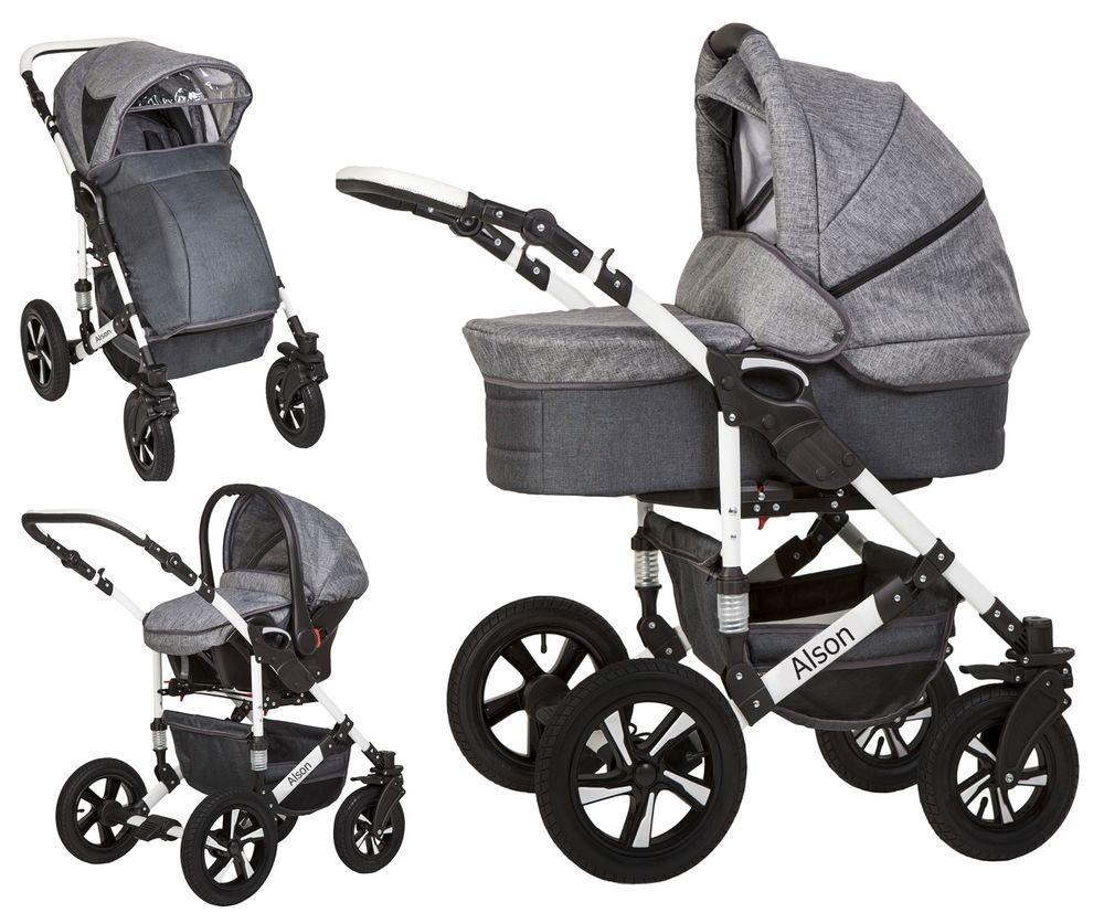 Alson Baby Pram Pushchair Buggy Stroller Car Seat Travel System 3