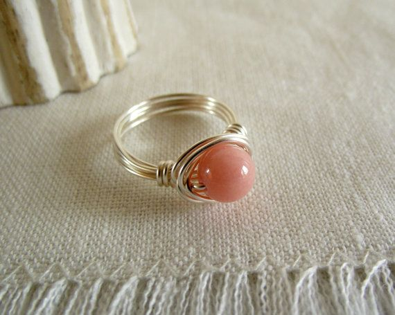 Pink Coral Jade Ring 8mm silver wire wrapped boho by theknottedgem