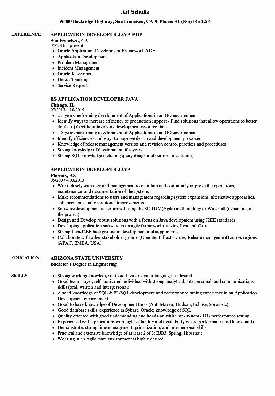 Core Java Developer Resume Best Of Application Developer Java Resume Samples Job Resume Samples Marketing Resume Engineering Resume Templates