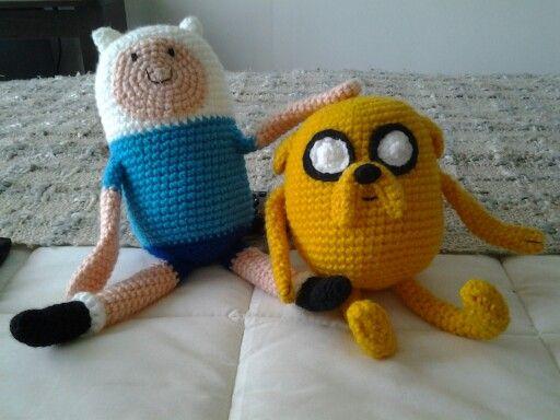 Amigurumi de Finn, the human, y Jake, the dog. De Adventure Time.