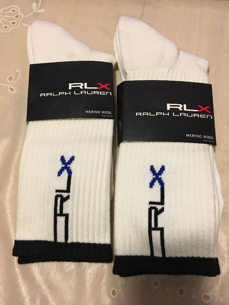 NWT 2 Prs Men's RALPH LAUREN RLX Merino Wool Crew Socks Shoe Size 6-12 White #adidas #Athletic