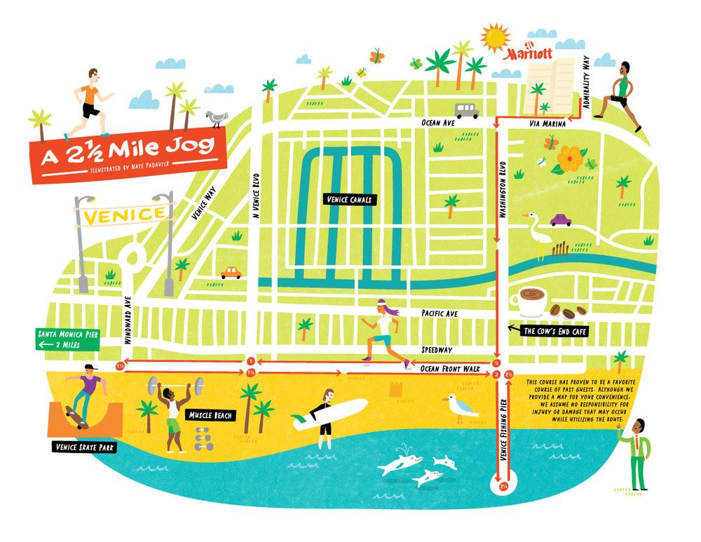 Illustrated Jogging Route Map Of Venice Beach By Nate Padavick - Los angeles map venice beach