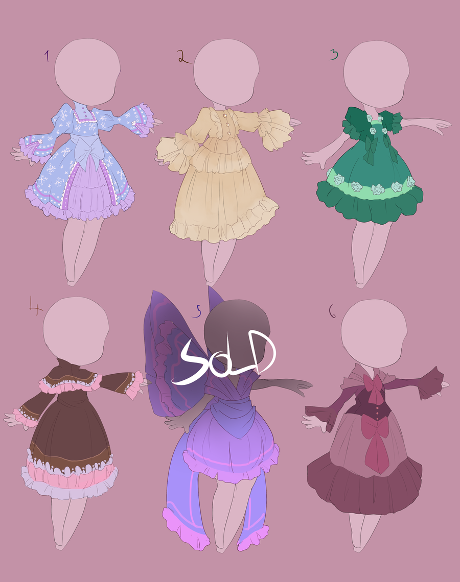 Cute dress adopts [OPEN 5/6] by MantaTheMisukitty.deviantart.com on @DeviantArt
