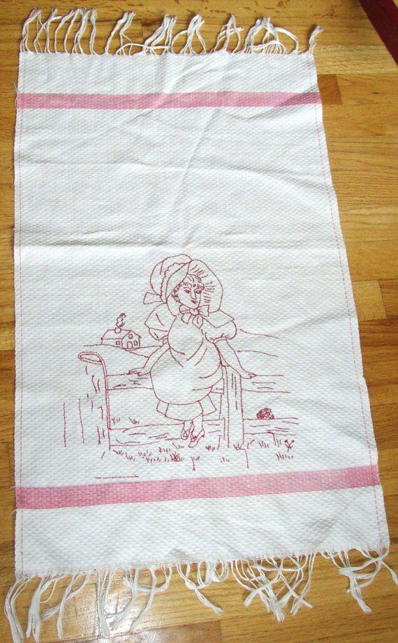TOALLA bordado REDWORK Vintage dulce... Chica con tapa...